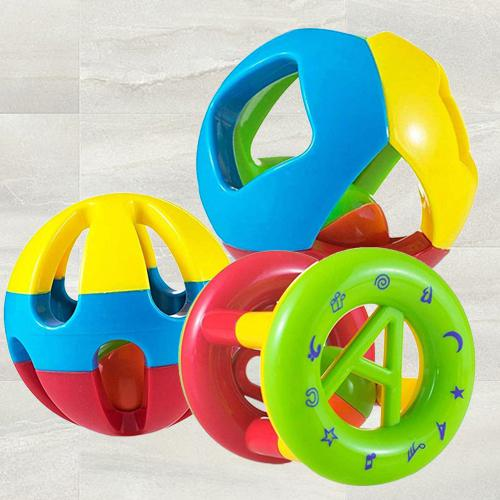 Amazing Rattle Set of 3 Shake and Grab Ball for Kids