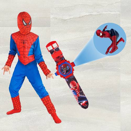 Remarkable Spiderman Projector Watch N Spiderman Costume for Kids