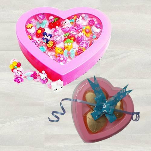 Amazing Cartoon Finger Rings with 3 Pcs Heart Shaped Chocolates