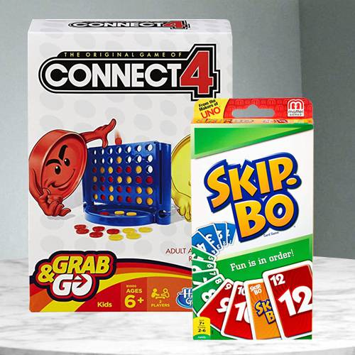 Exciting Hasbro Connect 4 Grab and Go N Mattel Skip Bo Card Game