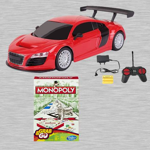 Exclusive Racing Car with Remote Control N Monopoly Grab N Go Game