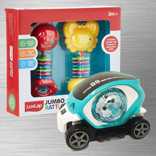 Amazing 360 Degree Rotating Stunt Car N Fish Teether Rattles