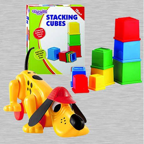 Wonderful Funskool Digger The Dog N Giggles Stacking Cubes