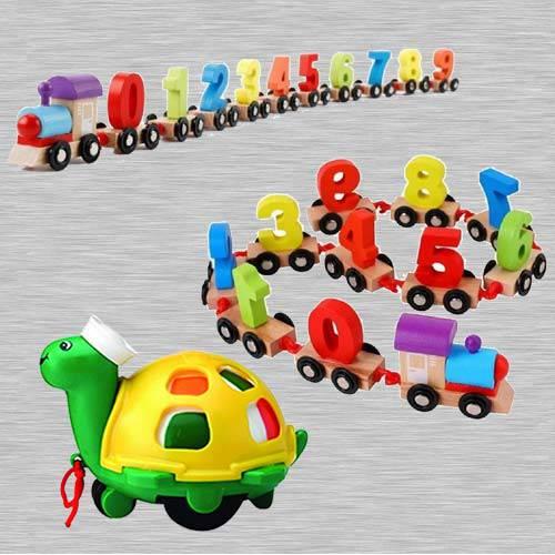 Marvelous Wooden Digital Train n Funskool Twirlly Whirlly Turtle