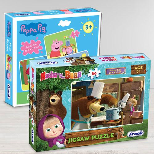 Exciting Frank Peppa Pig N Masha and The Bear Puzzle Set