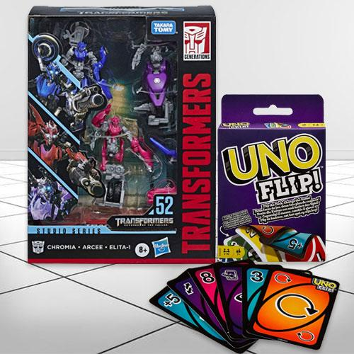 Wonderful Transformers Action Figure N Mattel Uno Flip Side Game