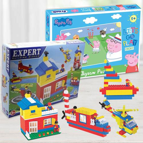 Wonderful Building Blocks N Frank Peppa Pig Lets Go Play Cricket Puzzle