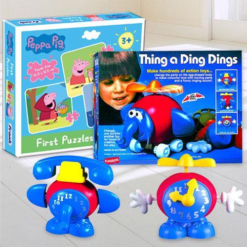 Wonderful Funskool Thing a Ding Dings N Frank Peppa Pig Puzzle Set