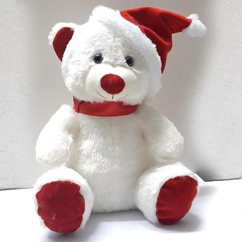 Mesmerizing Teddy with Red Santa Claus Cap