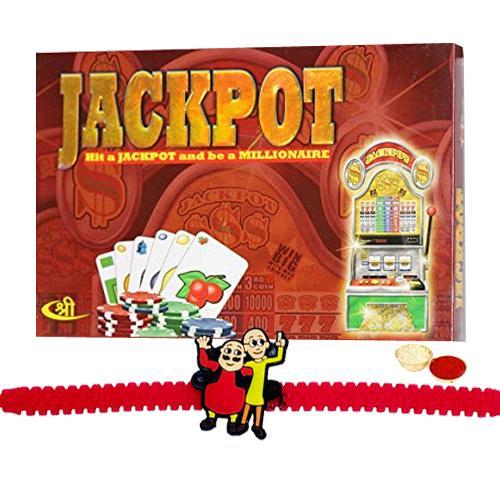 Jackpot Board Game with Motu Patlu Rakhi and Roli, Tilak and Chawal.