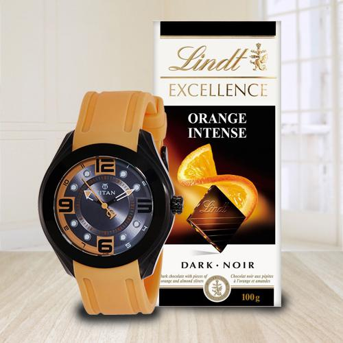 Exclusive Combo of Fastrack Watch and Lindt Chocolate
