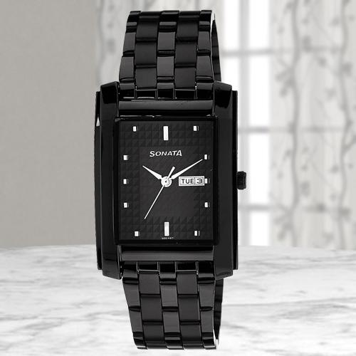 Sonata Analog Black Dial Mens Watch