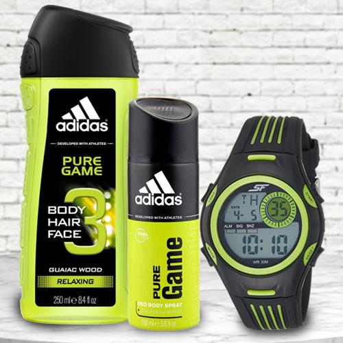 Amazing Sonata Fibre Mens Watch, Adidas Shower Gel N Deo