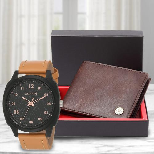 Amazing Sonata Volt+ Analog Watch N Leather Wallet