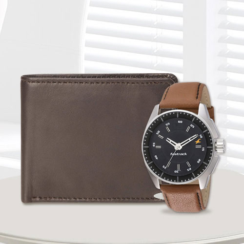Spectacular Fastrack Watch with a Brown Leather Wallet from Rich Born for Men