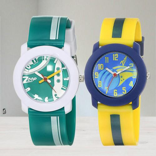 Wonderful Zoop Analogue Green N Multicolor Kids Watch