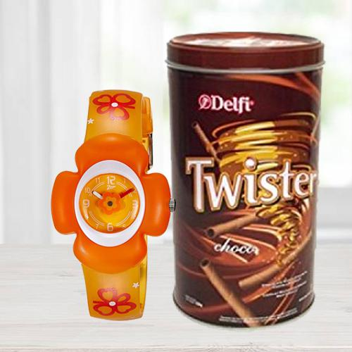 Wonderful Zoop Analog Watch N Delfi Twister Chocolate Wafer