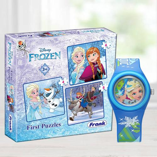 Remarkable Zoop Cartoon Analog Watch n Jigsaw Puzzles Set