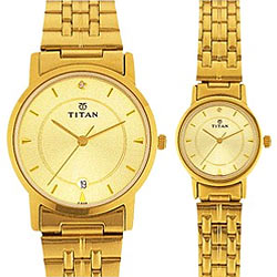 A nice golden chained pair watch from Titan Bandhan