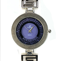 Fashionable Silver Coloured Ladies Wrist Watch with Purple Dial