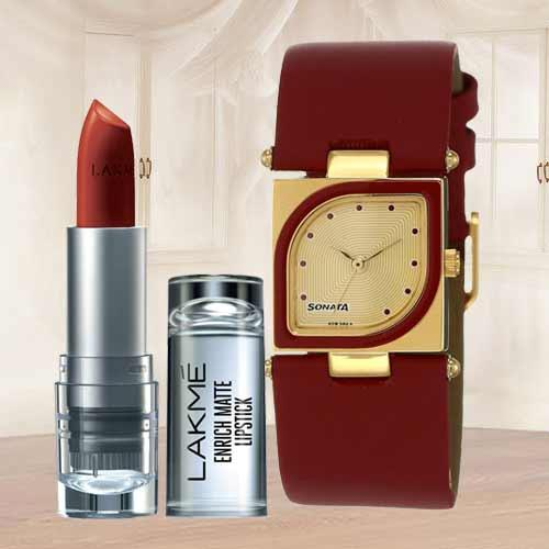 Remarkable Sonata Analog Womens Watch N Lakme Lipstick