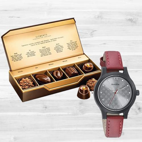 Amazing Sonata Analog Womens Watch N Fabelle Elements Chocos