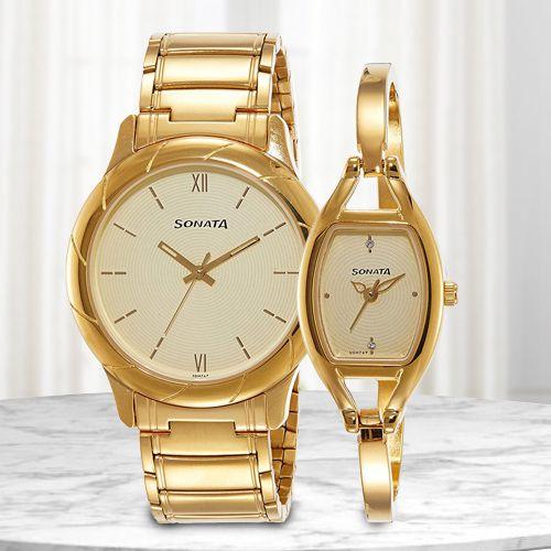 Stunning Sonata Analog Couple Watch