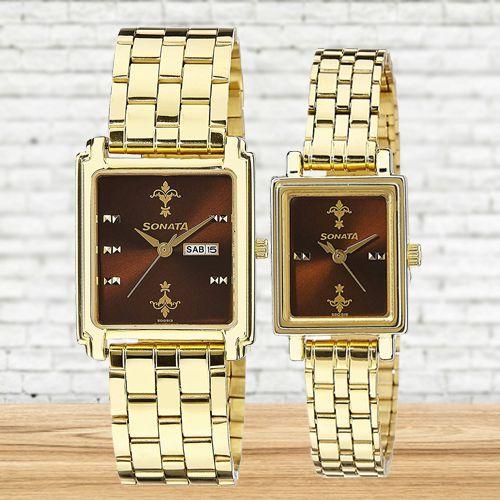 Remarkable Sonata Analog Couple Watch