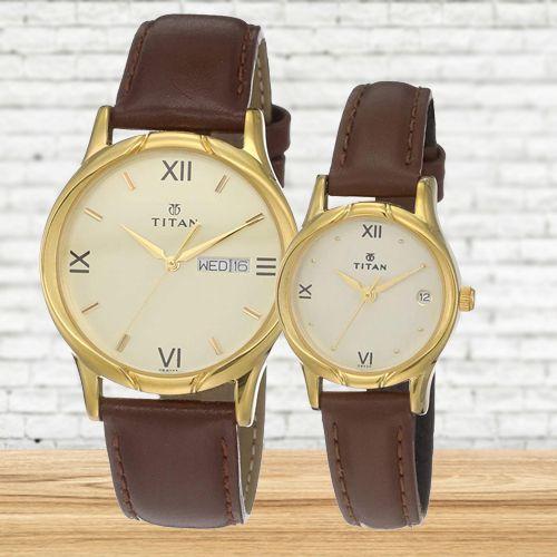 Amazing Titan Analog Pair Watch