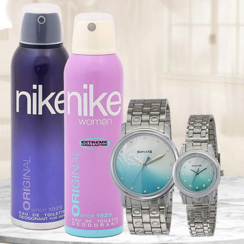 Exclusive Sonata Analog Couple Watch N Nike Dual Deo Set