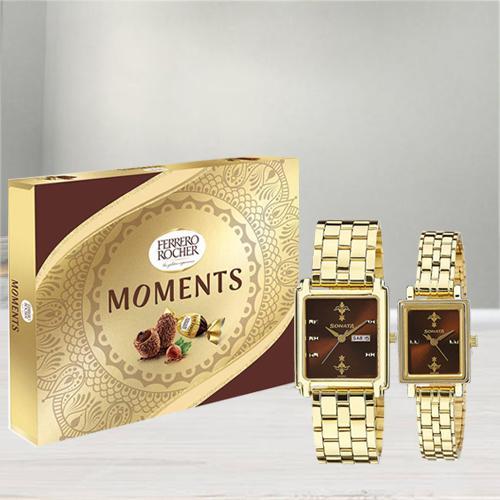 Stunning Sonata Analog Watch N Ferrero Rocher Moments Chocos