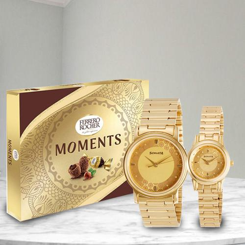 Stunning Sonata Analog Watch N Ferrero Rocher Moments Choco