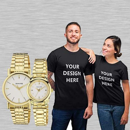 Stunning Sonata Analog Watch N Personalized T Shirts