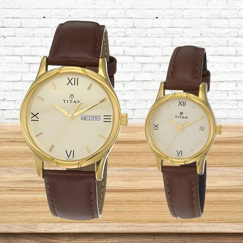Attractive Titan Analog Gold Pair Watch