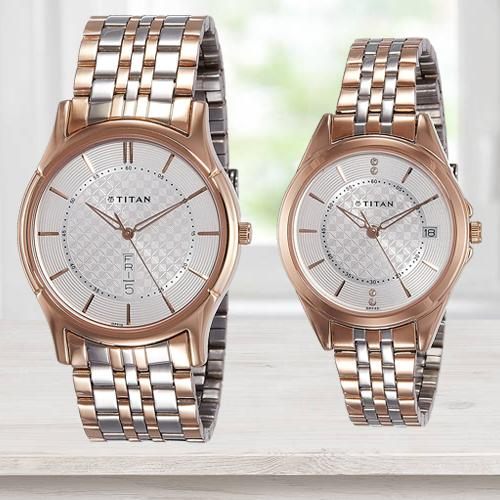 Amusing Titan Analog Silver Dial Couples Watch