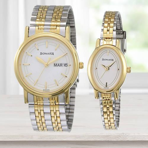Ravishing Sonata Analog Silver Dial Pair Watch
