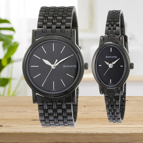 Brilliant Sonata Analog Black Dial Couple Watch
