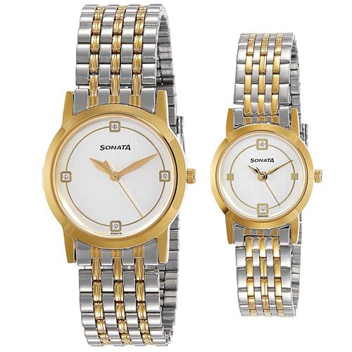 Fabulous Sonata Analog Multi-Color Dial Couple Watch