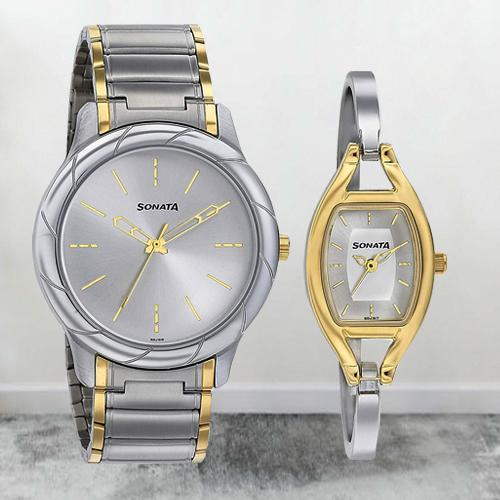 Striking Sonata Analog Silver Dial Pair Watch