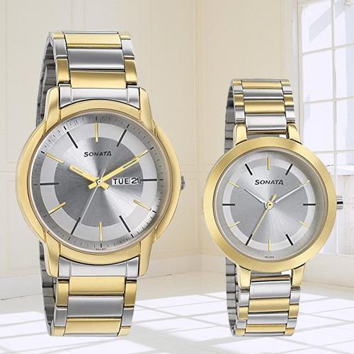 Impressive Sonata Analog Silver Dial Pair Watch