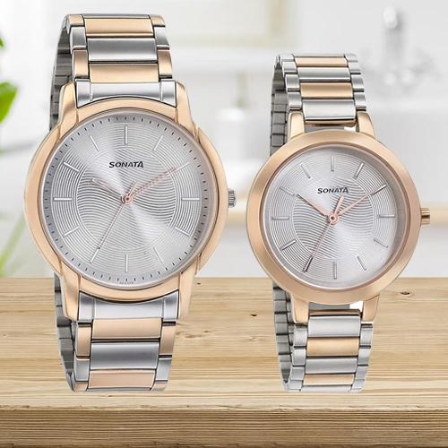 Fantastic Sonata Analog Silver Dial Couple Watch