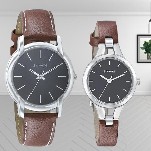Mesmerizing Sonata Analog Black Dial Couple Watch