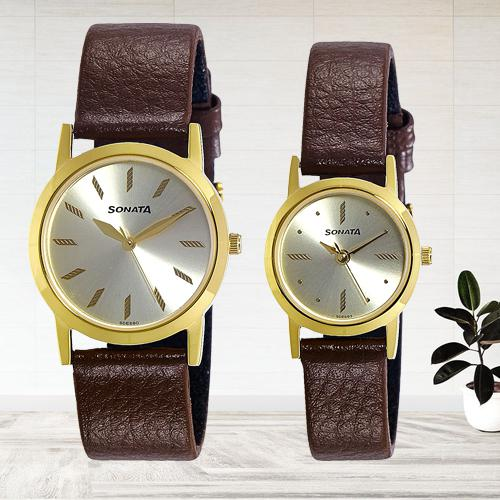 Lovely Sonata Analog Gold Dial Mens Watch