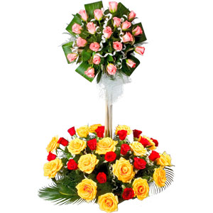 Beautiful 2 Tier Floral Arrangement Made of 50 Mixed Roses
